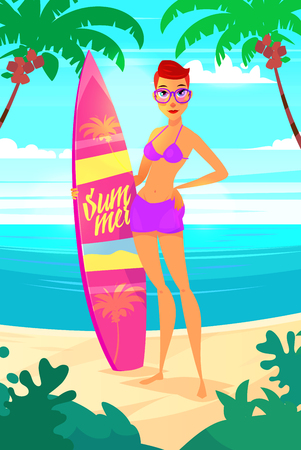 swimwear: Funny illustration of surfing girl