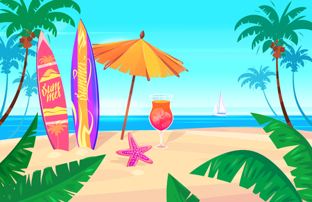 cartoon banner: Holidays by the sea Illustration