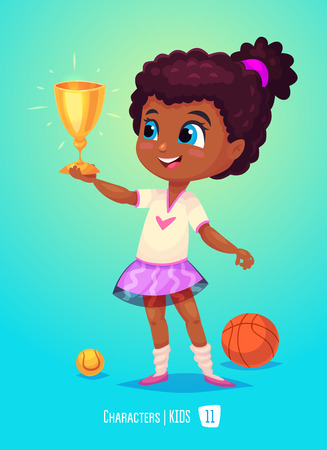 cartoon school girl: Cute Girl. Back to School isolated cartoon character on blue background. Girl with prize. Great illustration for a school books and more.