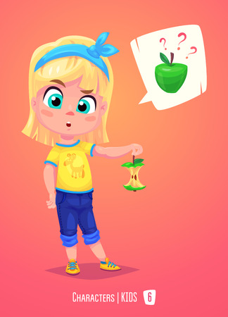 Cute School Girl. Back to School isolated cartoon character with apple on pink background. Great illustration for a school books and more. Reklamní fotografie - 59701731