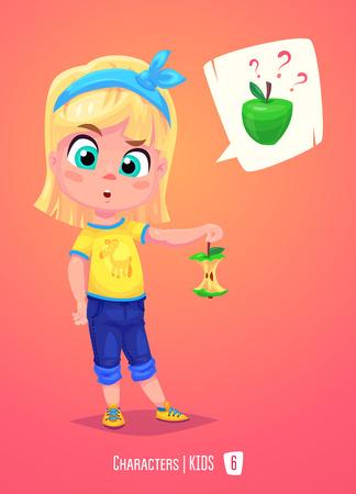 La muchacha linda de la escuela. Volver a la escuela aislada personaje de dibujos animados con la manzana en el fondo de color rosa. Gran ejemplo de un par de libros escolares y más. Foto de archivo - 59701731