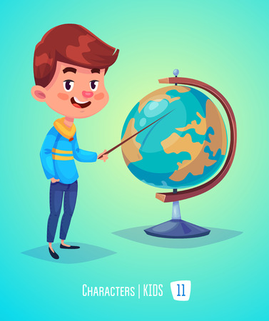 Cute Boy. Back to School isolated cartoon character with globe on yellow and blue background. Great illustration for a school books and more.
