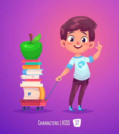 student's: Cute Boy. Back to School isolated cartoon character with books and apple on pink background.
