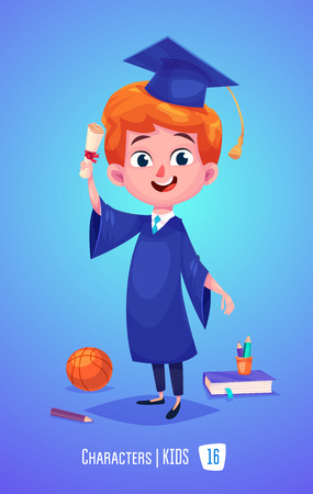 Cute Boy. Back to School isolated cartoon character with diploma book on blue background. Great illustration for a school books and more.