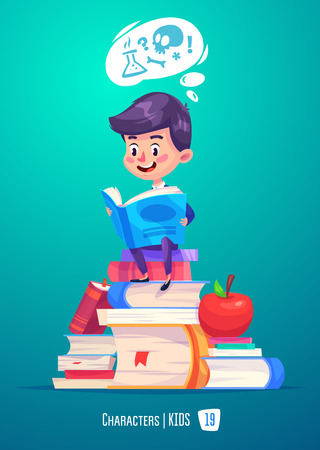Cute Boy. Back to School isolated cartoon character with books and apple on pink background. Great illustration for a school books and more. Çizim