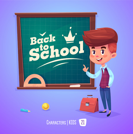 Cute Boy. Back to School isolated cartoon character near blackboard on violet background. Great illustration for a school books and more. Vettoriali