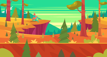 Seamless background for games apps or mobile development. Cartoon nature landscape with forest. illustration for design graphics print or book . Stock illustration.