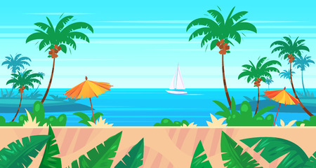 tropical beach panoramic: Seamless background for games apps or mobile development. Cartoon nature landscape with sea or ocean and palms. illustration for design graphics print or book . Stock illustration. Illustration