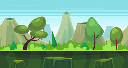 forest landscape: Seamless background for games apps or mobile development. Cartoon nature landscape with forest and mountains. illustration for design graphics print or book . Stock illustration.