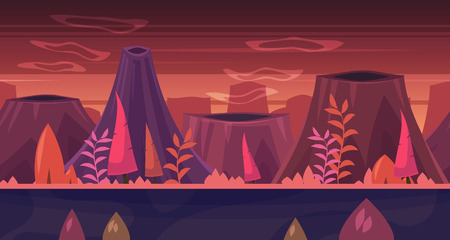 planetarium: Seamless background for games apps or mobile development. Cartoon nature landscape with forest and mountains. illustration for design graphics print or book . Stock illustration.