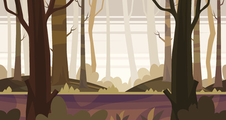 unending: Seamless background for games apps or mobile development. Cartoon nature landscape with forest. illustration for design graphics print or book . Stock illustration.