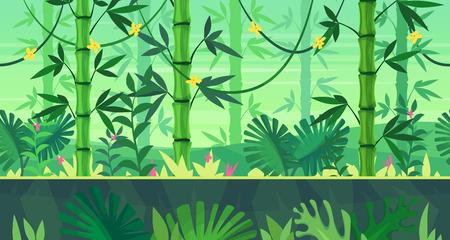 게임 애플 리 케이 션 또는 모바일 개발에 대 한 완벽 한 배경입니다. 정글과 함께 만화 자연 풍경입니다. 디자인 그래픽 인쇄 또는 책에 대 한 그림입