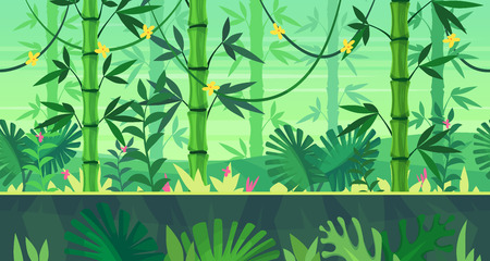 selva: fondo transparente para juegos o aplicaciones de desarrollo móvil. paisaje de dibujos animados con la selva. ilustración para el diseño de impresión de gráficos o un libro. La ilustración.