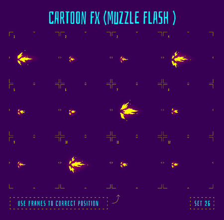 by shot: Muzzle flash explosion sprites or fx animation frames icons. Use in game development, mobile games or motion graphic. Vector illustration. Illustration