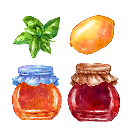 hand jam: Watercolor sweets jam lemon and mint. Big collection of hand drawn illustrations. Good for book illustration, magazine or journal article.