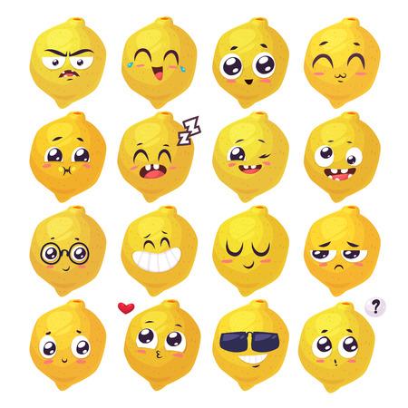 limon caricatura: Limón conjunto de sonrisas divertidas. Colección de frutas y alimentos. ilustración de dibujos animados. personajes linda con estilo. Vectores