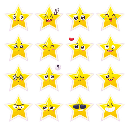 star: Set of funny star smiles. cartoon illustration. Cute stylish characters.