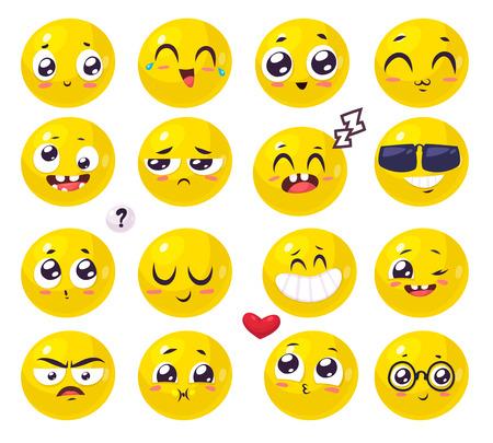 Set of funny smiles. cartoon illustration. Cute stylish characters. 向量圖像