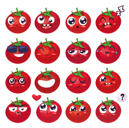 Tomato set of funny smiles. Fruit vegetables and food collection. cartoon illustration. Cute stylish characters. Illustration