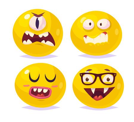 cyclops: Set of halloween funny smiles. Vampire Dracula monster cyclops. cartoon illustration. Cute stylish characters.