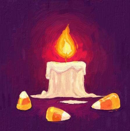 paletas de caramelo: dibujado a mano la pintura al óleo de Halloween. Vela y dulces. pintura al óleo conjunto de Feliz Halloween ilustraciones de época sobre lienzo. textura de color.