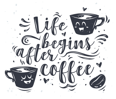 Life begins after coffee. Lettering with two cute cartoon characters. Modern calligraphy style set. stock ilustration Vectores