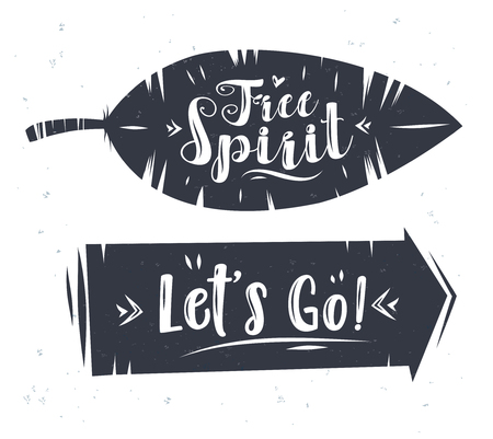 free spirit: Free spirit and lets go. Lettering with arrow and plumelet. Modern calligraphy style set. stock ilustration