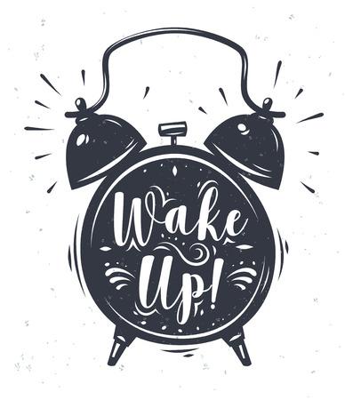 Obudź się. Napis z zegarem. Nowoczesny styl kaligrafii ustawić. Zdjęcie ilustration