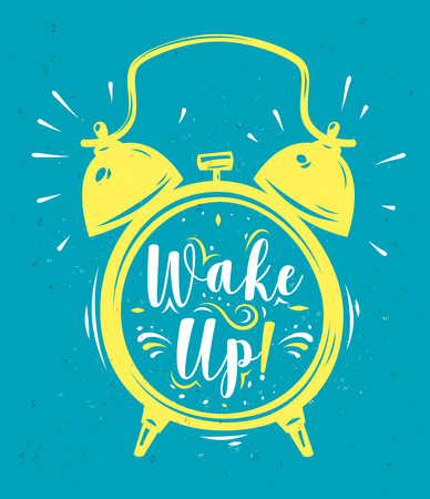 Wake up. Lettering with clock. Modern calligraphy style set. stock ilustration