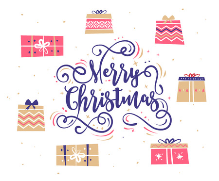 holiday gifts: Happy New Year and Merry Christmas. Lettering Composition with gifts. Holiday Vector Illustration. Illustration