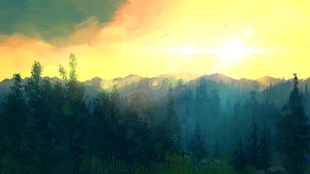 Las vistas increíbles de la naturaleza salvaje. paisaje forestal en la luz del sol. nubes de color amarillo natural del paisaje. ilustración