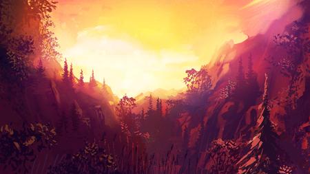 Geweldig uitzicht op de wilde natuur. Bos landschap in het zonlicht. Natuurlijke gele wolkenlandschap. Stock Illustratie