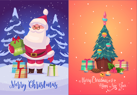 christmas gifts: Happy cute Santa with gifts in forest. Christmas greeting card background poster. Vector illustration. Merry christmas and Happy new year. Illustration