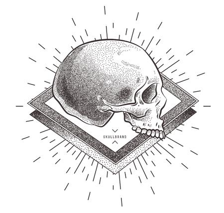 Ejemplo del cráneo con los elementos abstractos geométricos. grunge plantilla de impresión para la camiseta. Arte del vector de valores. Ilustración de vector