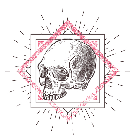 stock art: Skull illustration with geometric abstract elements. Grunge print template for tshirt. Vector stock art.