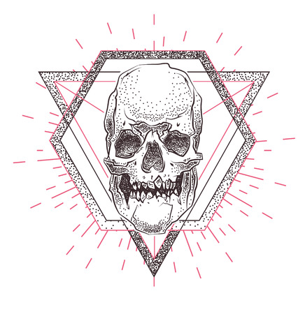 stock art: Set of Skull illustration with geometric abstract elements. Grunge print template for tshirt. Vector stock art. Illustration