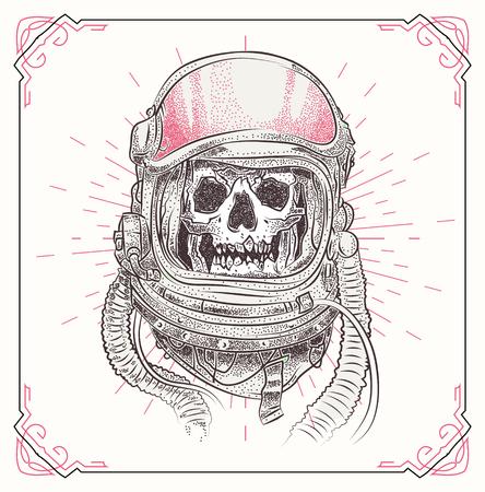 デッド宇宙飛行士。幾何学的な抽象的な要素を持つ頭蓋骨の図。グランジの t シャツの印刷のテンプレートです。ベクトル ストック アート。  イラスト・ベクター素材