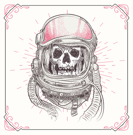 Dead astronaut. Skull illustration with geometric abstract elements. Grunge print template for tshirt. Vector stock art.