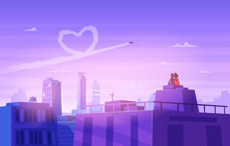 innamorati che si baciano: Due amanti felici che si siedono sul tetto. Design moderno illustrazione moda. Retro vettore sfondo piatto. Scheda di San Valentino.