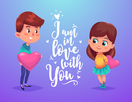 Couple with hears. Vector cute illustration. 向量圖像