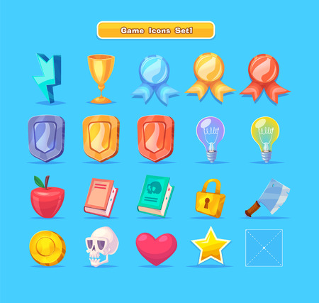 nitro: Set of cartoon game resources icons for casual games. Graphic user interface, vector illustration.