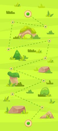 Cartoon spelkaart voor casual games. Grafische gebruikersinterface, vectorillustratie.