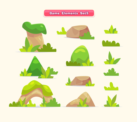 summer trees: Illustration of a set  cartoon spring or summer little trees with grass for ui game Illustration
