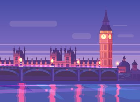 london night: Natural landscape. Vector illustration.