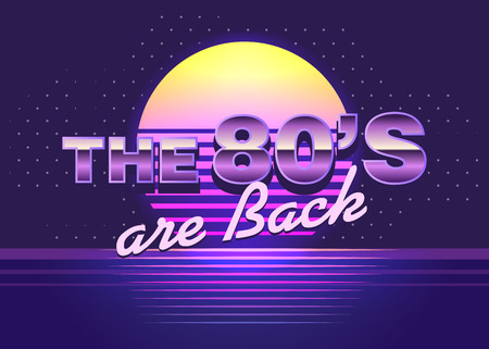 Vector retro emblem. The 80s are back. 80 s style illustration. Template for design or tshirt.