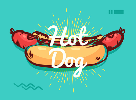 Vector hand drawn hot dog poster or card. Sketch cards. Cute vintage illustrations. Vector stock illustration. . Hot dog background. Template for design ot tshirt.