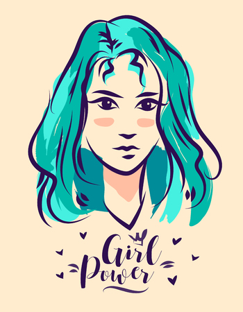 woman white shirt: Girl power poster with cool design Illustration