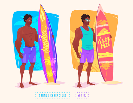 Surfing guy cartoon character, isolated vector illustration.