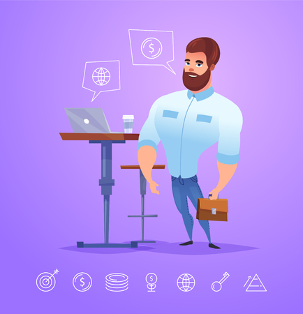coworker: business man character. Isolated vector illustration. Illustration