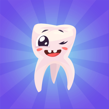 cleanliness: Healthy teeth. Funny character on blue background. Vector cartoon illustration.